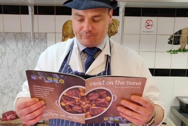 Butcher Steven Thomson browses through the new magazine