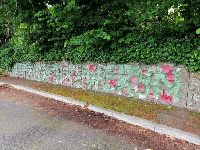 The graffiti memorial near Llangollen has been smeared with Nazi symbols. Picture: Paul Evans