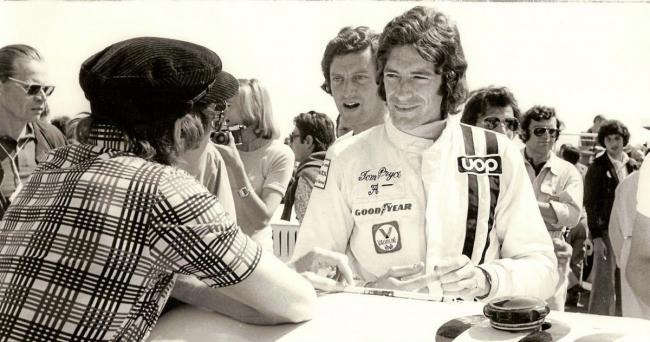 Tom Pryce after winning the Race of Champions at Brands Hatch in 1975