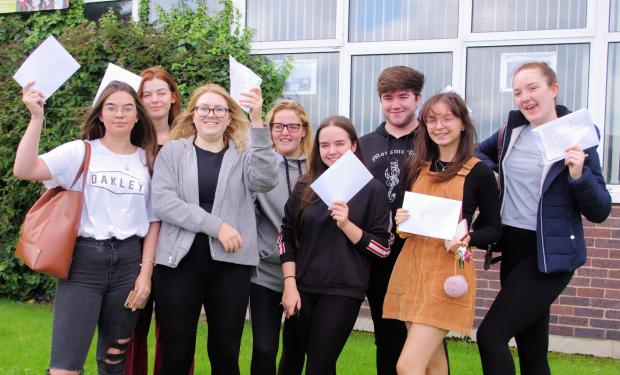 Denbighshire Free Press: Students with their results at Emrys ap Iwan - 2019