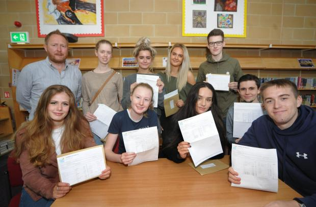 Denbighshire Free Press: A level pass students celebrate their results. Picture: Phil Micheu