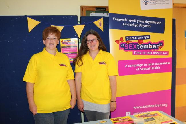 Corrina Williams and Mel Gadd of the Sex Education Company launching the campaign at Ysbyty Gwynedd