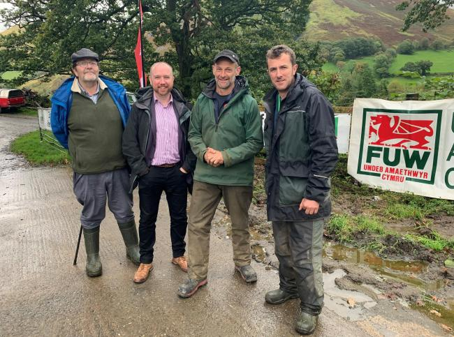 FUW Meirionnydd vice chairman Edwin Jones, county councillor Mabon ap Gwynfor, Wales Farm Safety Partnership ambassador Alun Edwards and FUW Meirionnydd county chairman Sion Ifans