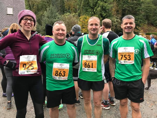 Kate Wilson, David Spencer, Roge Snaith and Gareth Rees Jones before the Betws Trail 10k