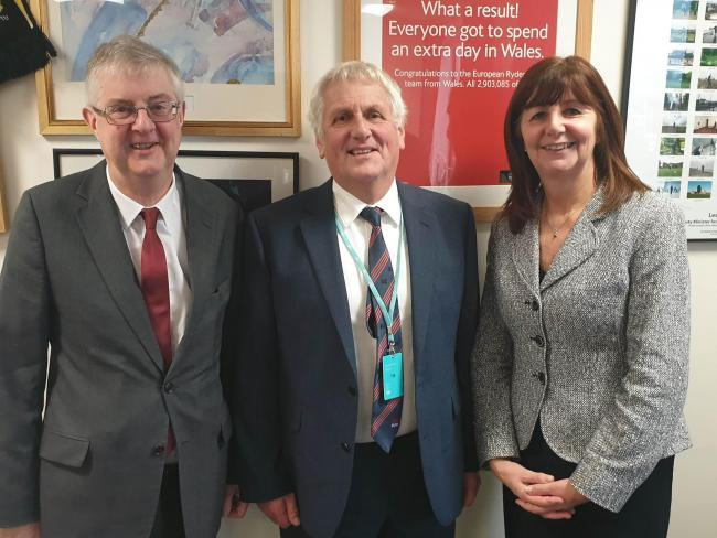 First Minister Mark Drakeford, Glyn Roberts and Lesely Griffiths