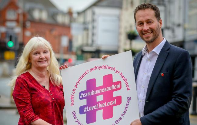 Denbigh High Street: Carolyn Brindle, Denbighshire County Council's lead officer for business support and Mike Horrocks, economic and business development manager