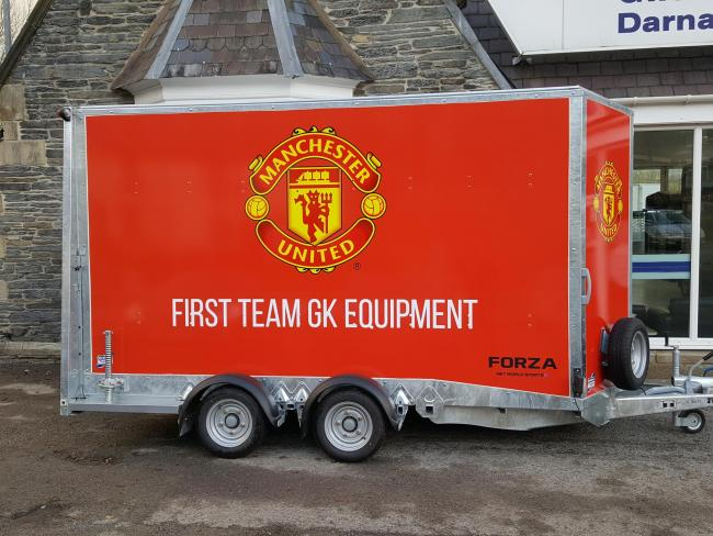 Ifor Williams Trailers' box van used to store and transport training equipment for Manchester United goalkeepers