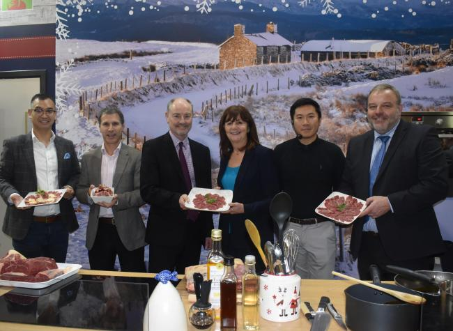 Xiao Ming He and Nicolas Pampliega (Kepak St Merryn international sales team), Kevin Roberts (HCC chair), Lesley Griffiths AM, Larkin Cen and Prys Morgan (Kepak St Merryn), demonstrating the type of Welsh beef cuts that could be popular in the Chinese mar