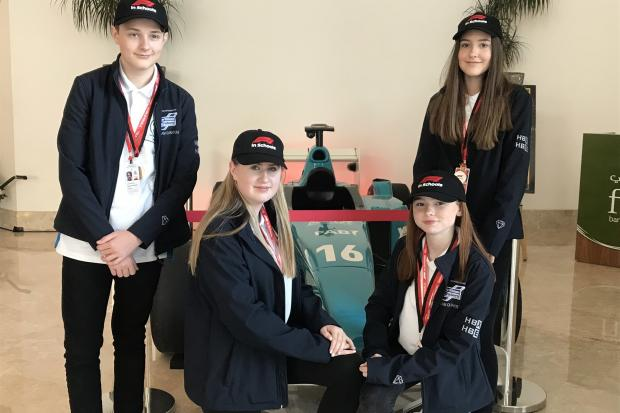 Denbigh High School's Quantum team of (left to right) Tom, Hollie, Libby and Zara.