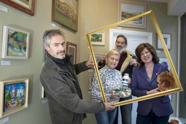 Businesses booming, pictured at Oak Street Gallery are, from left, gallery owner Karl Young, Lilla Kieiwan, of Occasions, Robert Davies, of RUN Ragged, and Roslynne Lumsden, of Shop Around The Corner. Picture by Mandy Jones