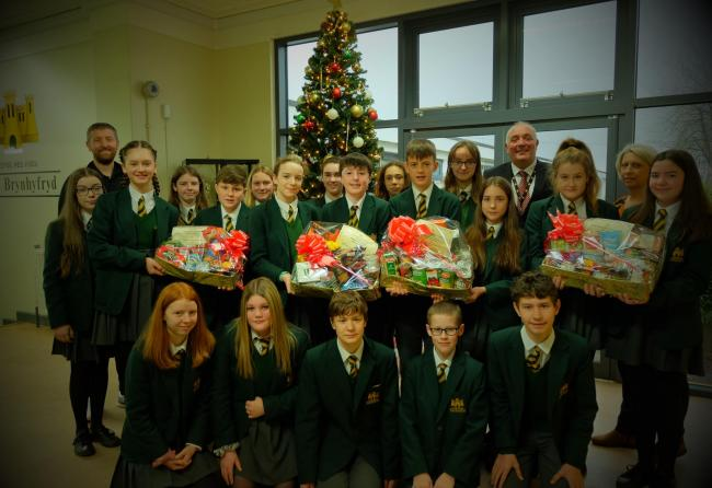 Ahead of Christmas, Year 9 pupils at Ysgol Brynhyfryd, in Ruthin, were busy collecting food donations