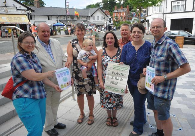 Mair Davies (centre) with the Llangollen Plastic Free group that was recently nominated for Plastic Free Community status