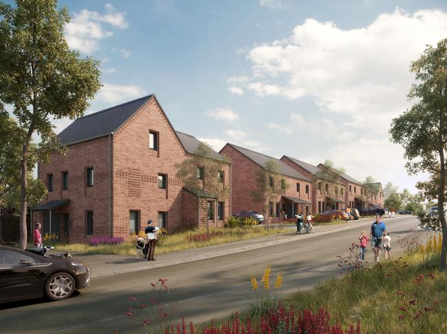 An artist's impression of how the development will look in Denbigh on land above Tan y Sgubor