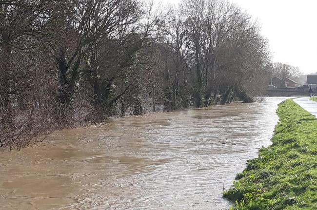 Rainfall caused the River Elwy to flood on Sunday. Picture: Rod Cooper/St Asaph Flood Awareness