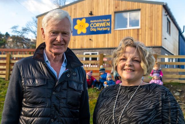 Lord Newborough and Carmen Roberts Davenport at Corwen Day Nursery