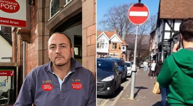 Huw Hilditch-Roberts outside the post office in Ruthin in 2016 and the queue outside on Friday, March 27 2020