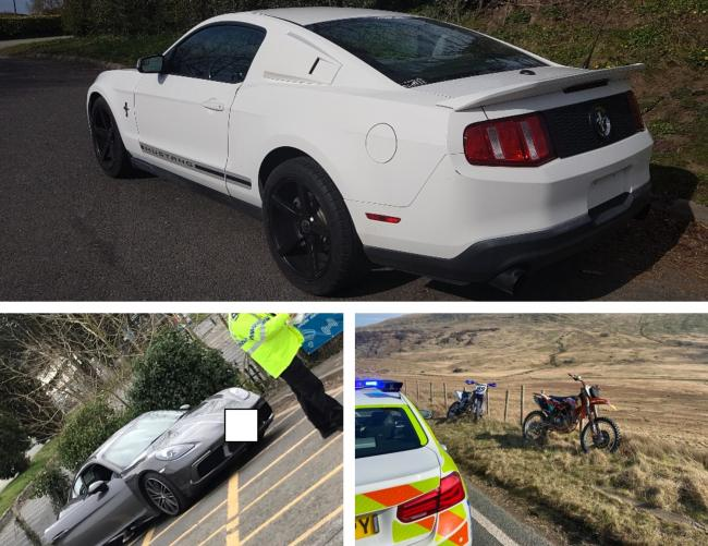 A Mustang, Porsche and two trial bikes were seized by police over the weekend.