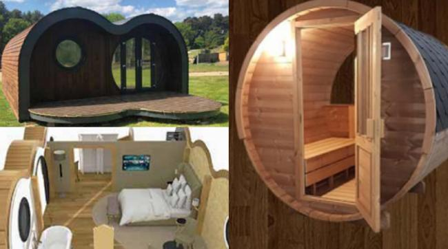Photograph of Podlodge; Extract of 3D images of internal layout and Appearance of proposed sauna barrel pod. Pictures: Cadnant Planning