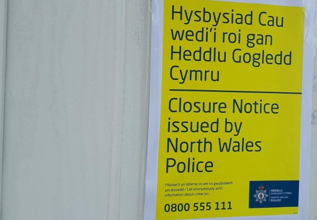 Closure order in Denbigh. Picture: North Wales Police