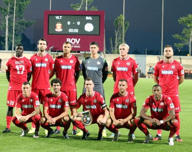 Bala Town line up before their 1-0 UEFA Europa League win over Valletta in Malta last Thursday. PICTURE: Gareth Hughes.