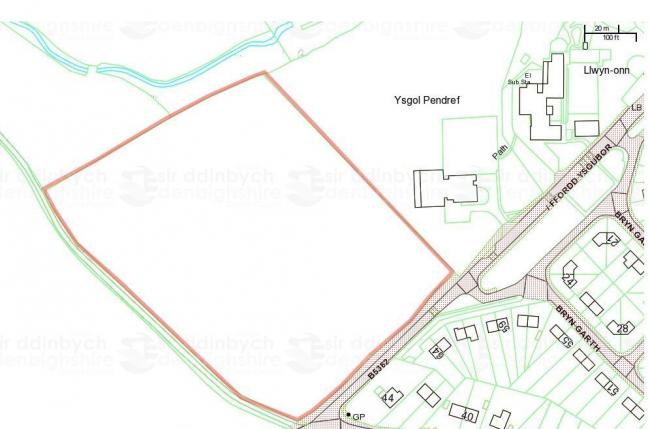Land adjacent to Ysgol Pendref in Denbigh (outlined in red) will be sold to a housing developer