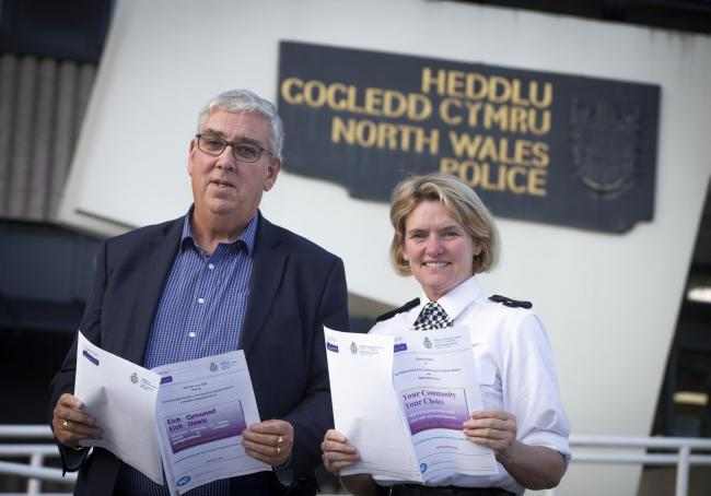 North Wales Police's crime commissioner Arfon Jones and Sacha Hatchett, assistant chief constable at the Colwyn Bay HQ