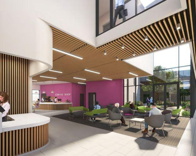 A view of how the interior of the new building\'s main entrance could look