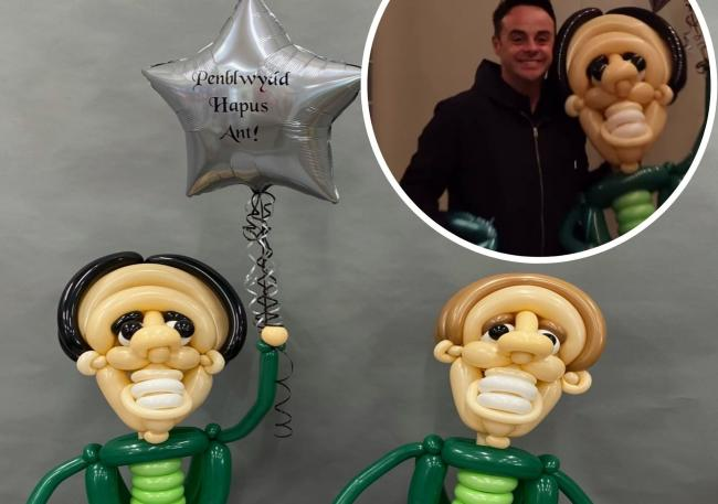 Ant and Dec - created by For Every Occasion Balloon Artists in Rhyl, and Ant with his gift. Picture: Main of balloons - courtesy of For Every Occasion Balloon Artists. And top right, Instagram / antanddec
