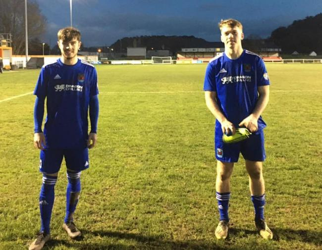 Jamie Cumming and Josh Jones were Ruthin's scorers in the 2-0 Nathaniel MG Cup win over Borough. PIC: Ruthin Town.