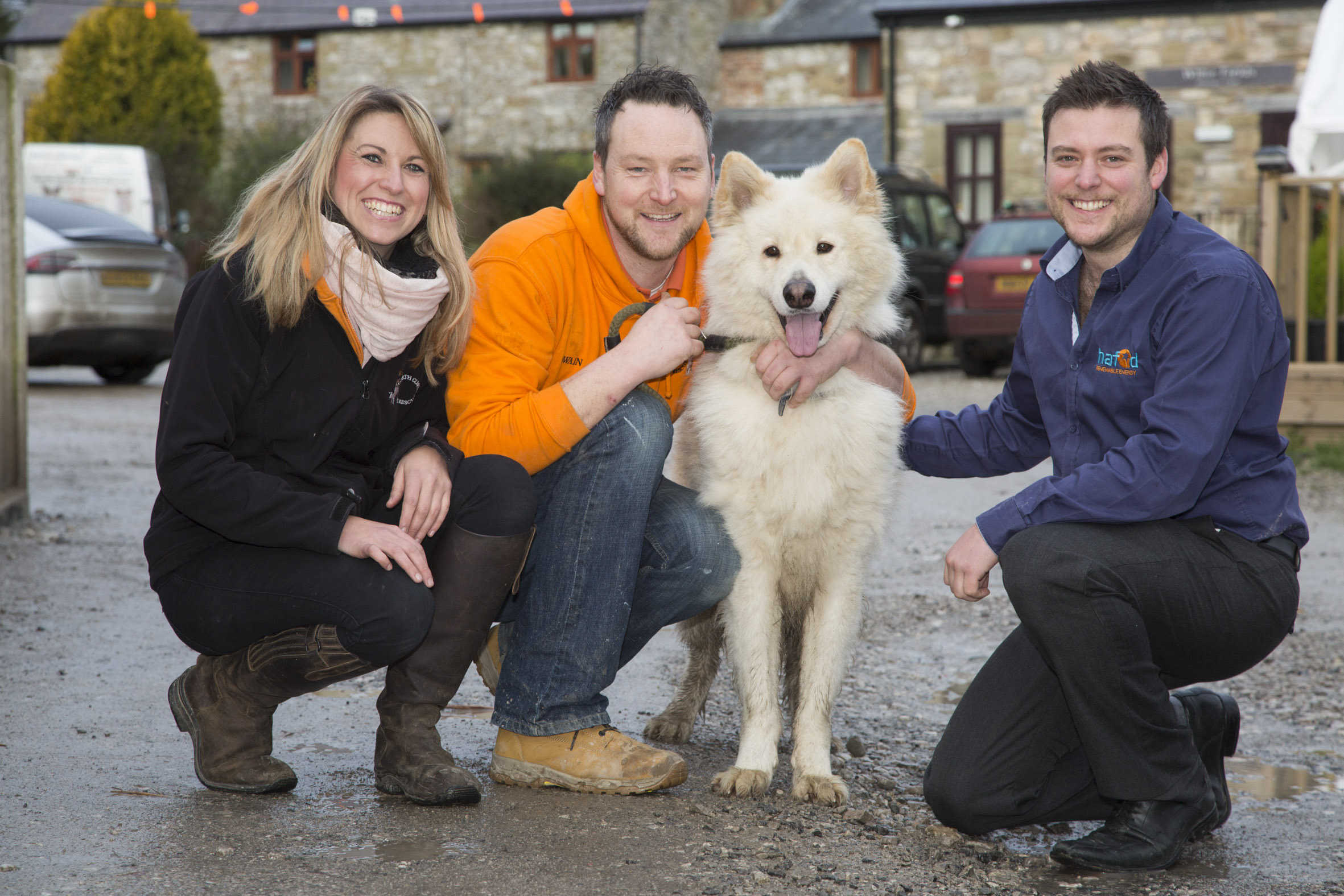 Hafod Renewables at North Clwyd Animal Rescue Trelogan. Pictured are Nicky Owen, media relations and fundraising manager at North Clwyd Animal Rescue, Owain Horton, General Manager and David Jones from Hafod Renewables with Zak the Dog.