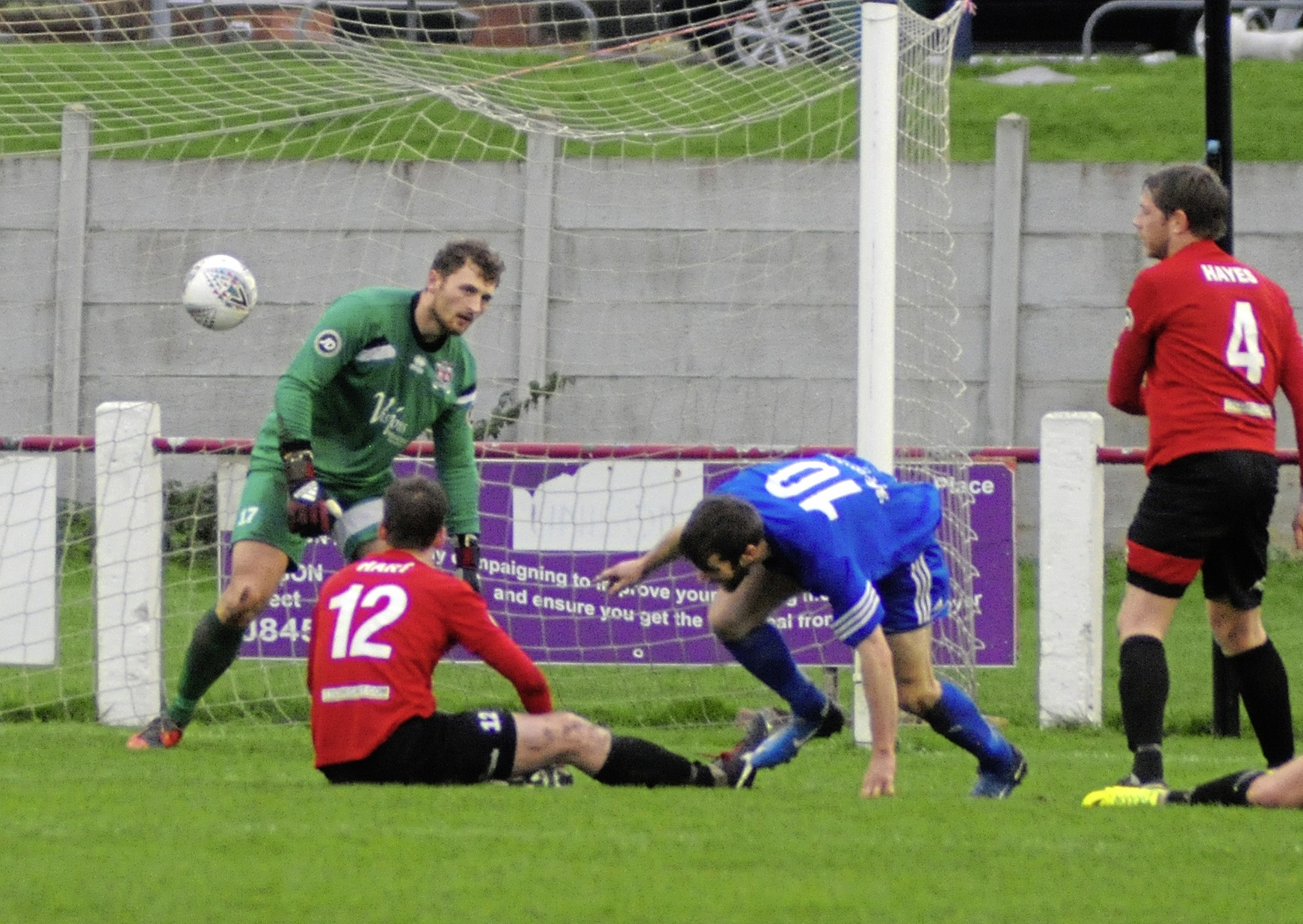 Gwion Owen on target for Ruthin Town during the brilliant 3-0 win at Prestatyn Town in the last round