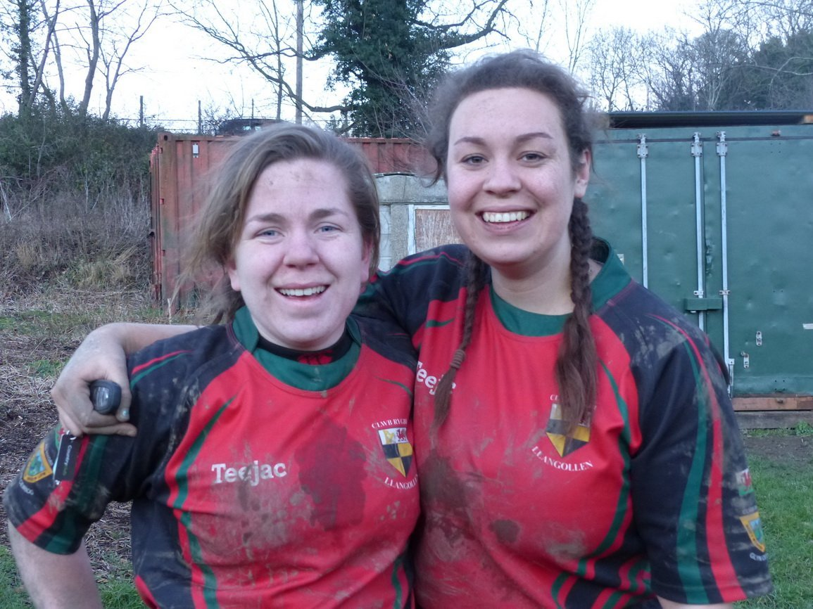 Flanker Sara Mault and prop Emily George were all smiles after a hard fought win for Llangollen. Photo credit: Oval Zone