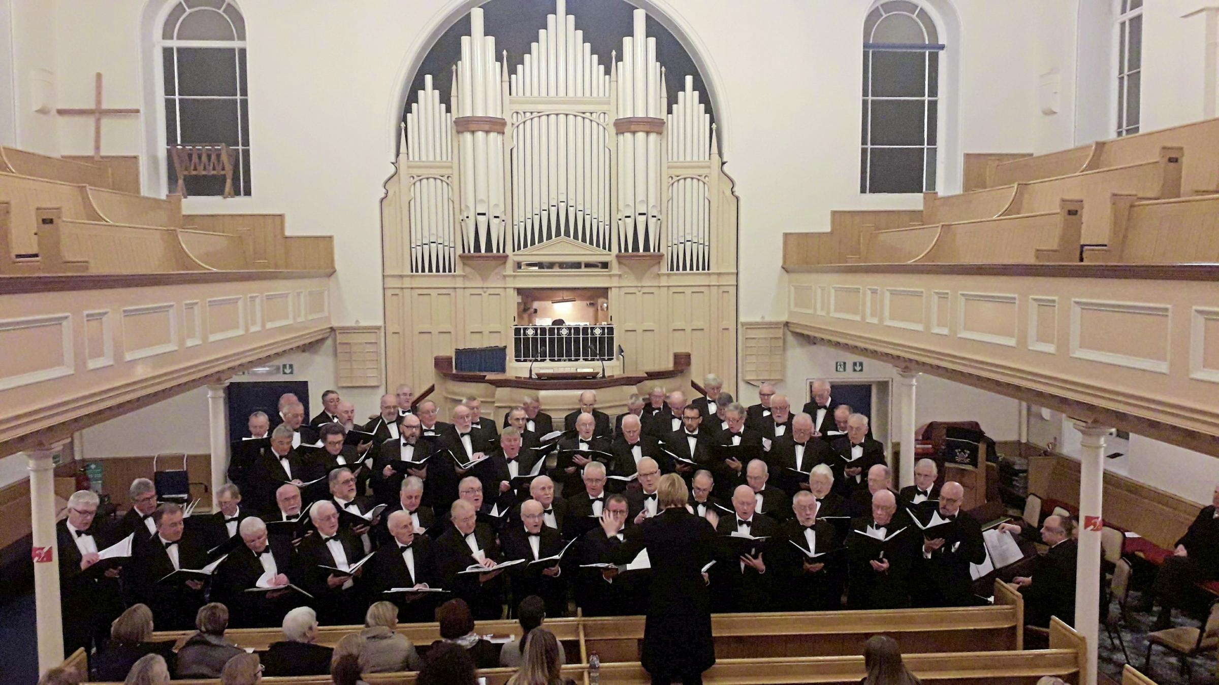 Trelawnyd Male Voice Choir with conductor Ann Atkinson