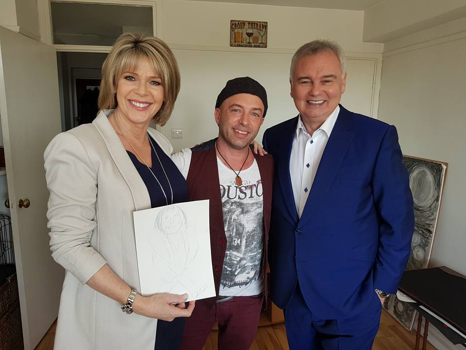 Sleep artist Lee Hadwin showing a day time sketch of Ruth Langsford with Eamonn Holmes