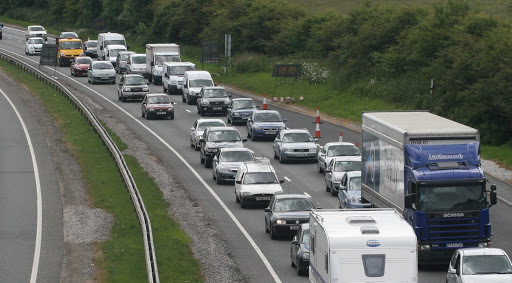 Maintenance on the A55, near Abergele, has caused traffic buildups heading West