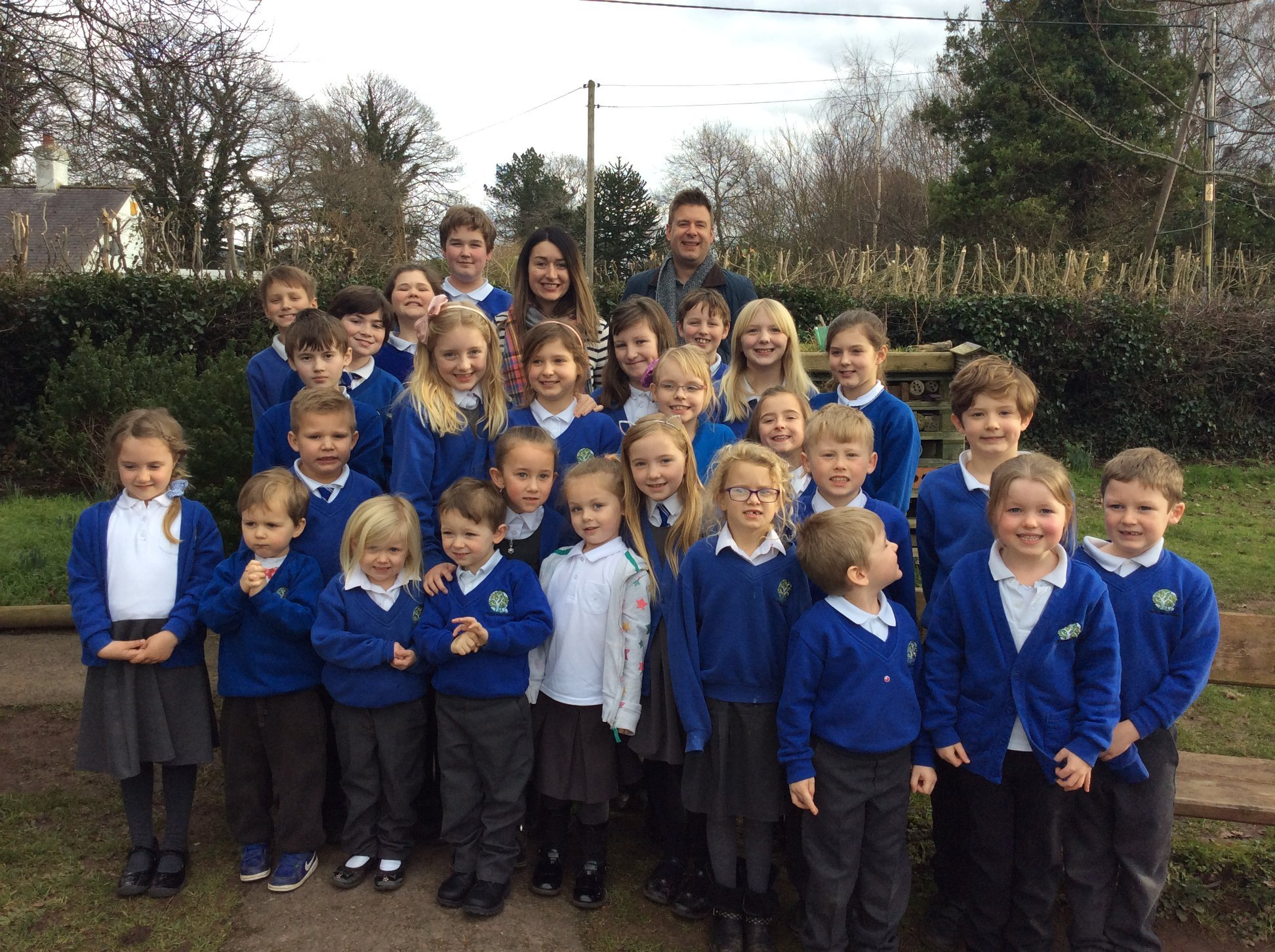 Ysgol Bryn Clwyd studnets with broadcasters from Heart FM