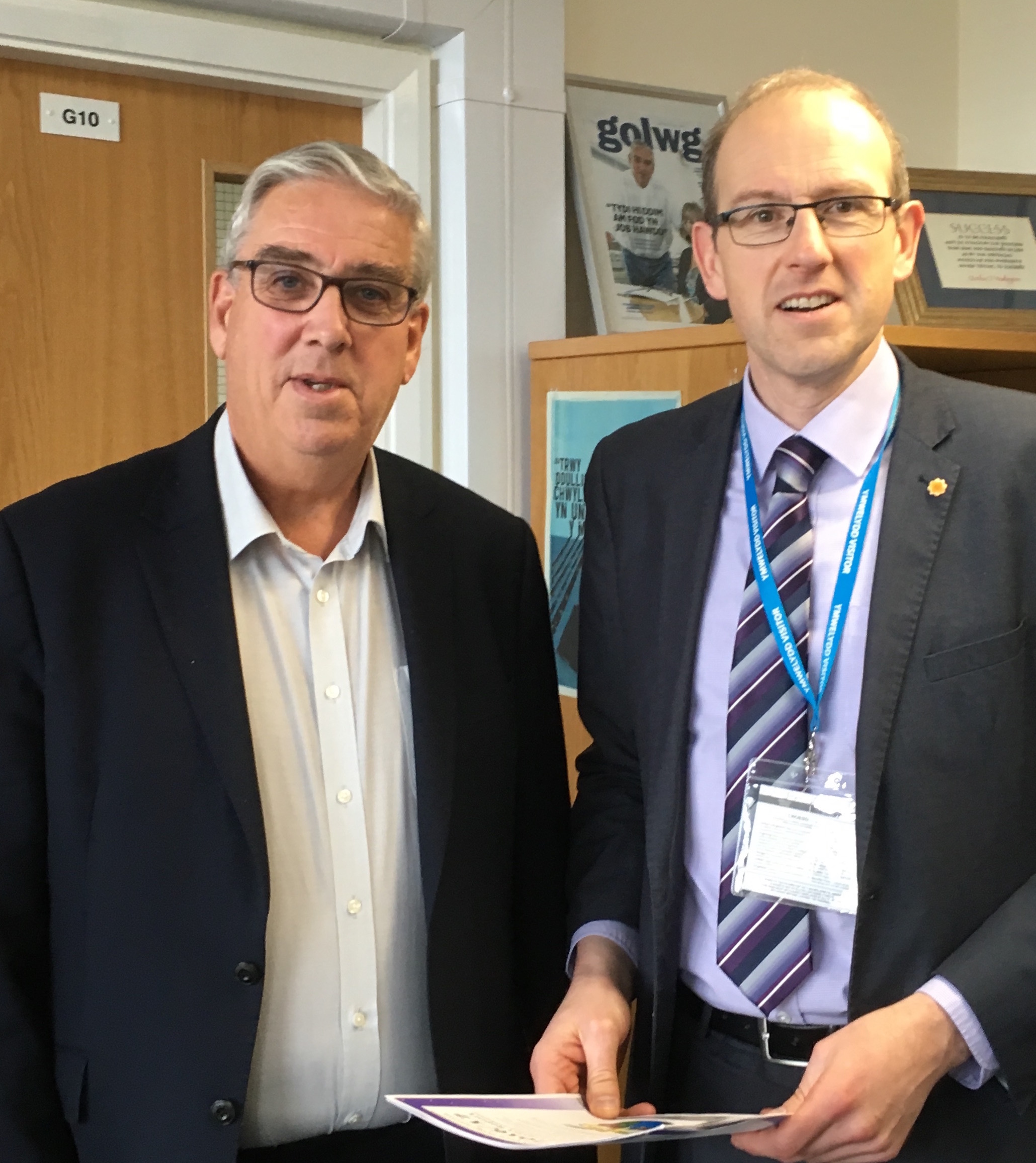 North Wales Police and Crime Commissioner Arfon Jones with Llyr Gruffydd AM