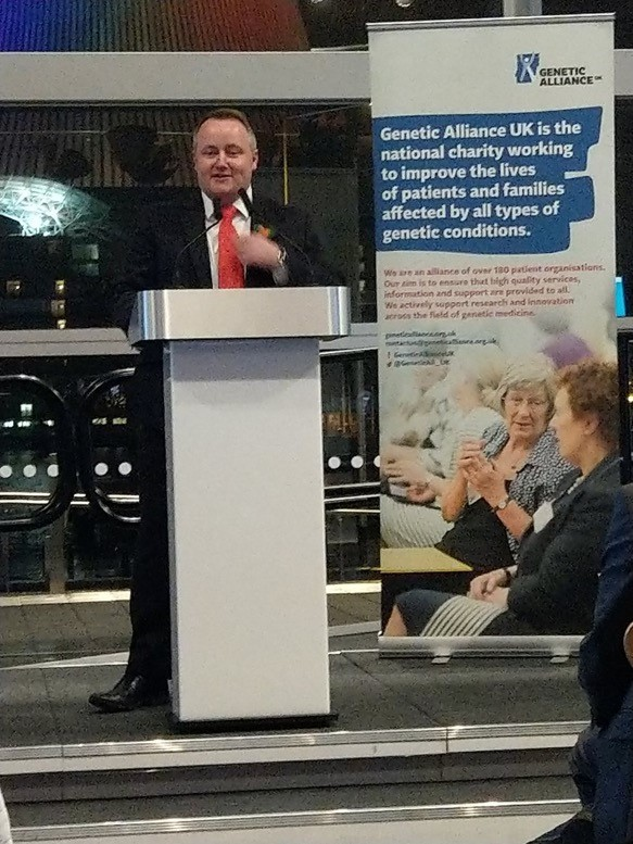 Clwyd West Assembly Member Darren Millar speaking at the Rare Disease Day event in the Senedd at which the 100,000 Genomes Project in Wales was officially launched.