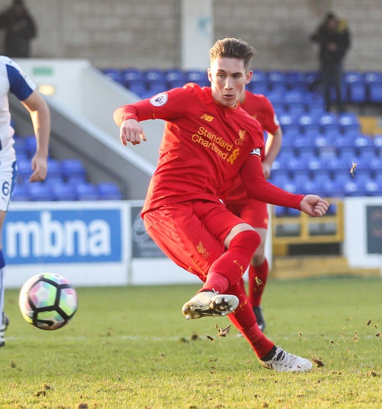 Harry Wilson scores a penalty versus Chester for Liverpool U-23s