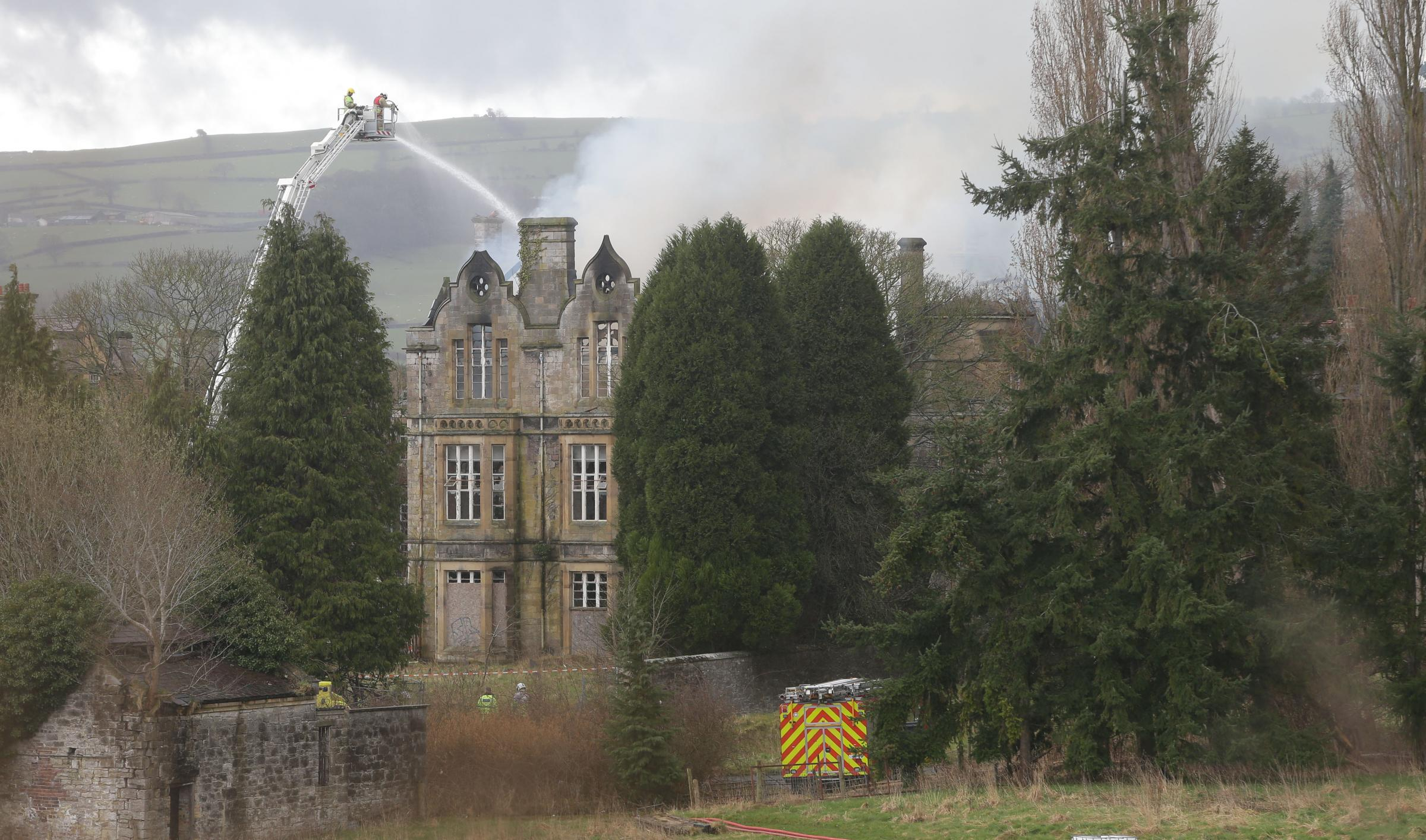 Fire engulfs former North Wales Hospital in Denbigh. Picture: Rick Matthews