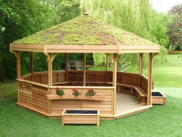The wooden gazebo they school is hoping to raise money for