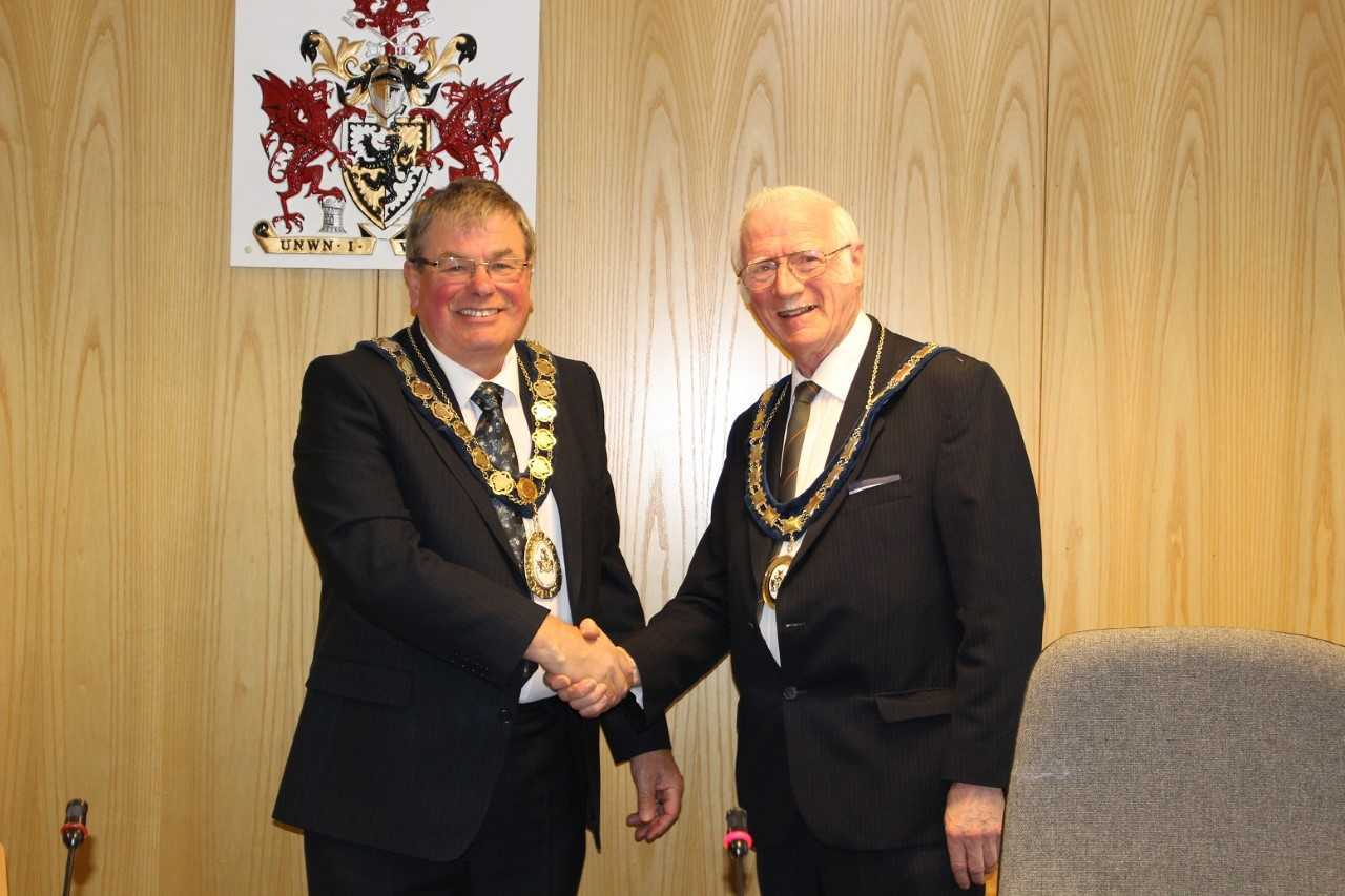 Councillor Peter Scott, new chair, and Councillor Meirick Lloyd Davies, vice chair