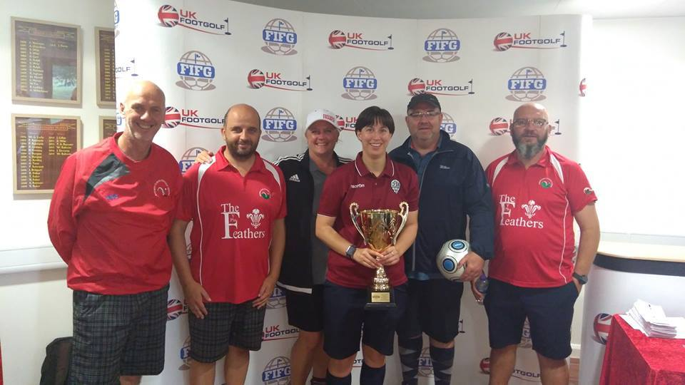 Jenny Broughall (centre) with her trophy. Picture: Dyffryn Footgolf / Facebook
