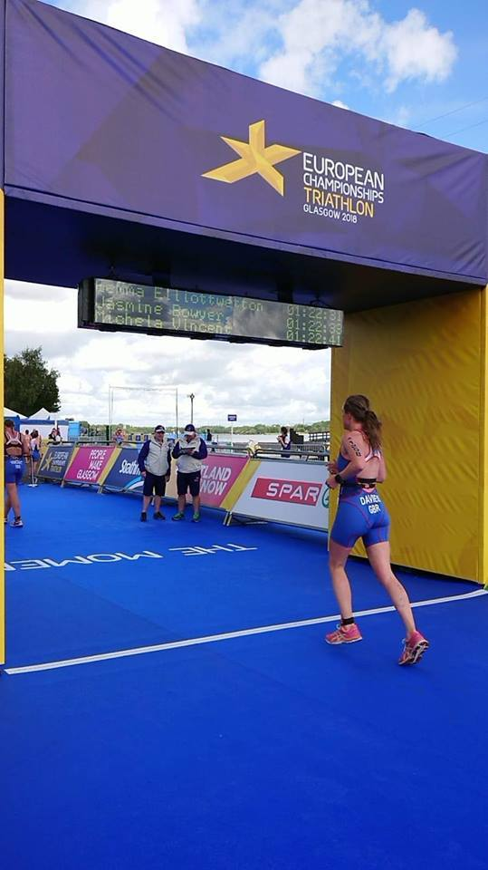 Hannah crossing the line in 22nd place in Glasgow.