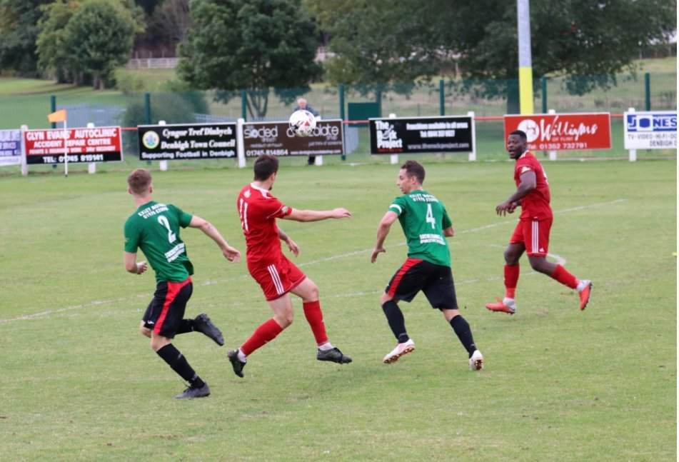Action from Denbigh Town's 1-1 draw with Penrhyncoch. Picture: Steve Whitfield / Denbigh Town FC