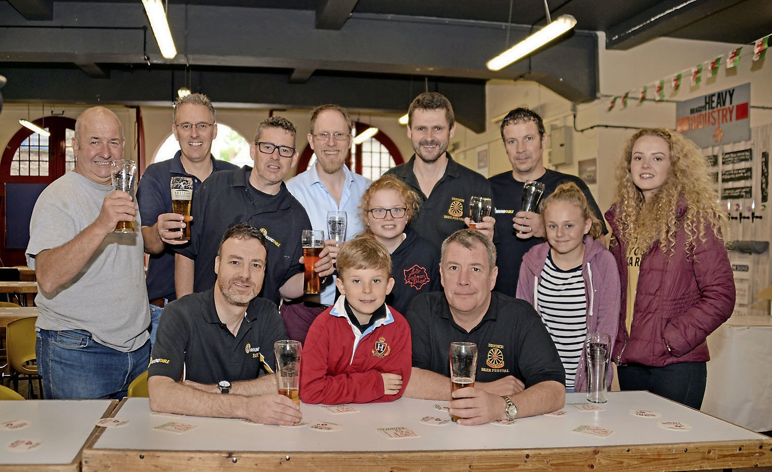 Some of the Denbigh Round Table and volunteers needer to run the successful beer festival.