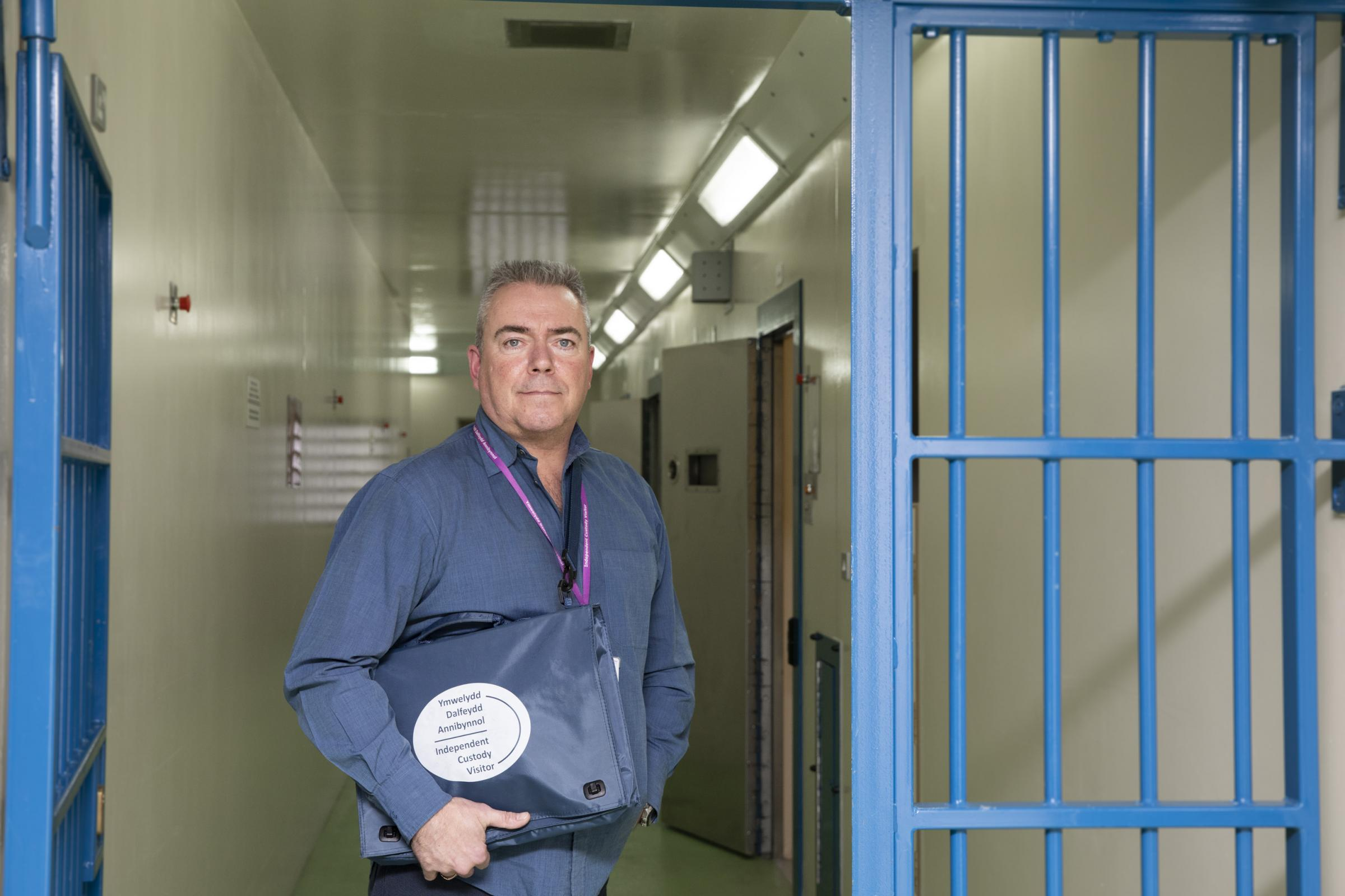 Independent custody visitor Neil Richmond at St Asaph custody suite.                    Picture Mandy Jones