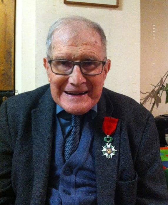 Dr Sidney Wilkins wearing the Ordre National de la Legion d'honneur, appointed to him by the President of France