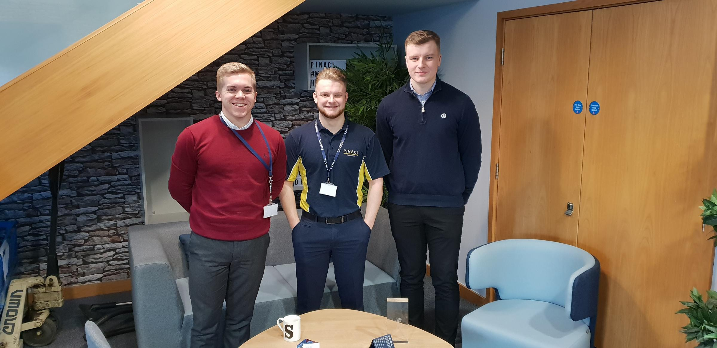 Pinnacl successes Zac Davies, Management Accounts Assistant, Rhys Harper, Project Manager, Louis Anglesea, Accounts Assistant Apprentice