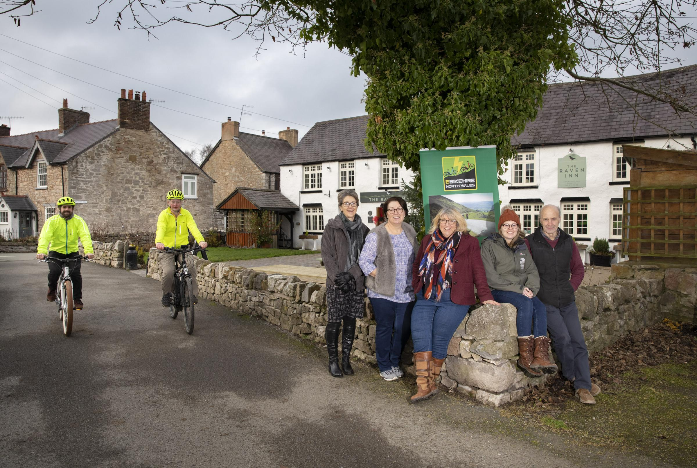 Pictured (from left): activities providers Carl Percival and Richard Haggerty, Jane Clough, Clwydian Range Tourism Group; Sue Hallows, Raven Inn; co-ordinator Julie Masters, Ceri Lloyd, Clwydian Range AONB, and Gwyn Rowlands, Cadwyn Clwyd. Picture Mandy J